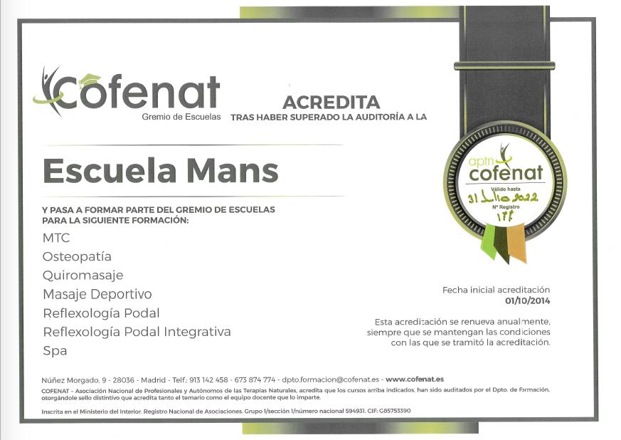 Certificado Mans Cofenat